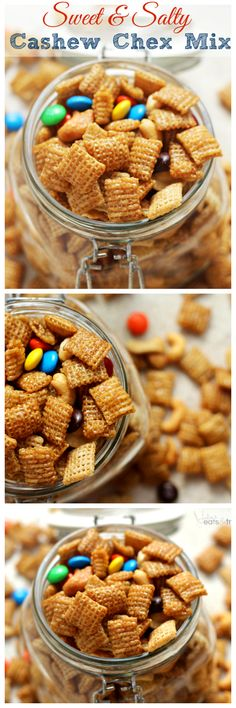 Sweet & Salty Cashew Chex Mix ~ Easy Snack Mix Loaded with Cashews, Chex, M&Ms & Cashews and Smothered in Caramel! Gosh ~ without the Chex, M & M's, and the caramel this sounds really good :) Easy Snacks, Yummy Snacks, Yummy Treats, Delicious Desserts, Healthy Snacks, Sweet Treats, Yummy Food, Snack Mix Recipes, Dessert Recipes