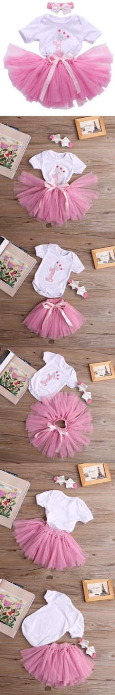3pcs set Baby bodysuits + tutu skirt + hairband Newborn infant baby clothing baby girls clothes