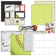 Scrapbook Customs Themed Paper and Stickers Scrapbook Kit, Softball Journal Scrapbook Customs