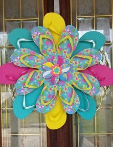 2f3cb60c759de5 Get Redy for Summer Unique Handmade Flip Flop Wreath Door Wall Decor  Tropical