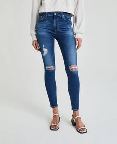 The Farrah Skinny in 8 Years Parallel Destructed at AG Jeans Official Store Ag Jeans, Blue Jeans, Skinny Jeans, Japanese Denim, Denim Shop, Embroidered Tunic, Cotton Tunics, Vintage Jeans, Dark Denim