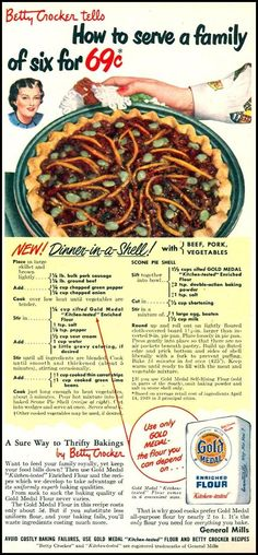 Betty Crocker ~ Dinner In A Shell Recipe Ad ~ Using Gold Medal Flour Retro Recipes, Old Recipes, Vintage Recipes, Cooking Recipes, Cheap Recipes, Recipies, Gross Food, Weird Food, Scary Food