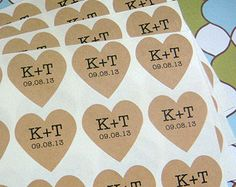 35 custom heart stickers 1.25 inch brown kraft paper, wedding favors, envelope seals (S-50)