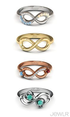 DIY design - Choose the metal, stones and engravings to create your own jewelry! Love the infinity rings! I Love Jewelry, Diy Jewelry, Jewelry Box, Jewelery, Jewelry Accessories, Fashion Jewelry, Fashion Hair, Gold Jewellery, Infinity Jewelry
