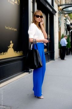 7 Spring 2015 Fashion Trends You Should Follow Office Fashion, Work Fashion, Fashion Looks, Fashion Black, Jeans Fashion, Bright Blue Pants, Spring 2015 Fashion, New Blue, Look Chic