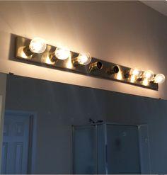 bathroom light fixtures over mirror redo \ bathroom light fixtures over mirror Bathroom Mirror Storage, Bathroom Red, Budget Bathroom, Bathroom Vanity Lighting, Master Bathroom, Redo Bathroom, Design Bathroom, Bathroom Ideas, Diy Mirror