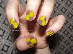 checkered #yellow #grey #nailart