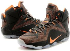 LeBron 12 PS Elite Dark Grey Orange Black Shoes0