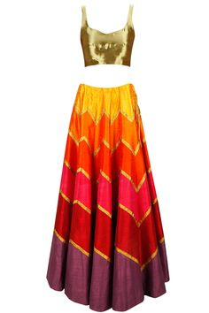 PRIYAL PRAKASH Multicolour zig zag gota lehenga with gold blouse and dupatta available only at Pernia's Pop-Up Shop.