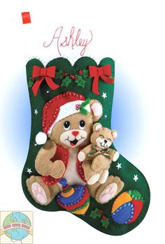 Felt Embroidery Kit ~ Design Works Playful Bears Christmas Stocking #DW5046 #DesignWorks