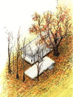 20 Beautiful Axonometric Drawings of Iconic Buildings,Farnsworth House / Mies van der Rohe / 1951 . Image Courtesy of Diego Inzunza - Estudio Rosamente Casa Farnsworth, Maison Farnsworth, Temple Architecture, Architecture Drawings, Residential Architecture, Modern Architecture, Walter Gropius, House Sketch, House Drawing