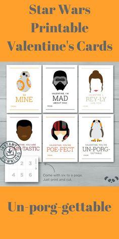 Star Wars printable Valentine's cards  #ad  #valentinesday  #starwars  #printable  #etsy
