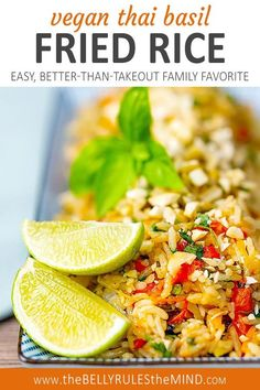 Vegan Thai basil fried rice is a family favorite recipe that's perfect for satisfying those takeout cravings. You can serve this easy to make rice recipe any day of the week for a delicious dinner. It's also perfect to make ahead on a weekend when you are meal prepping so you can send it as a warm lunch all week long. #mealprep #instantpot #pressurecooker #vegan Rice Recipes Vegan, Healthy Asian Recipes, Quinoa Salad Recipes, Vegan Dinner Recipes, Vegetarian Recipes, Vegetarian Side Dishes, Vegan Main Dishes, Basil Fried Rice