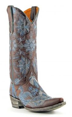 Perfect Something Blue for a bride who wants to wear boots! Womens Old Gringo Pepita Cowboy Boots Vesuvio Chocolate #L1599-3