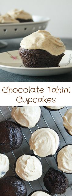Moist chocolate cakes filled with homemade tahini and topped with a light, nutty tahini frosting!