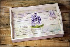 Decoupage Jars, Napkin Decoupage, Decoupage Vintage, Decoupage Ideas, Painted Trays, Hand Painted, Handmade Crafts, Diy And Crafts, Lavender Crafts