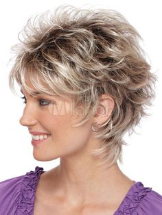 Silver Tousled Short Curly Wigs