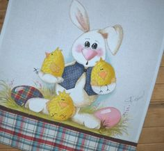 Projeto - Rabbit and Chicks Spring Painting, Country Paintings, Animal Books, Country Crafts, All Craft, Tole Painting, Mug Rugs, Textiles, Painting Inspiration