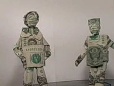two dollar origami men made with one dollar bills with out tape or glue just folded bringing back moneyorigami . Origami Man, Dollar Origami, Two Dollars, Fun Math, Art Ideas, Fictional Characters, Maths Fun, Fantasy Characters