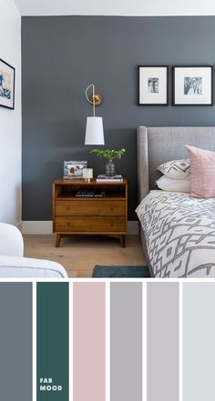 Gray bedroom with pink and teal accent # accent # teal . Gray bedroom with pink and teal accent # accent # teal Graues Schlafzimmer mit rosa und blaugrünem Akzent … 125 Source by Grey Bedroom Colors, Bedroom Color Schemes, Grey Teal Bedrooms, Dark Gray Bedroom, Grey Bedroom Walls, Blush Bedroom, Bedrooms With Accent Walls, Best Colour For Bedroom, Bedroom Wall Colour Ideas