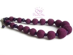Purple LINEN NECKLACE Natural Lilac Necklace, Coloured Linen, Purple Necklace ball Crochet Bead Jewelry. Violet wooden bead eco friendly