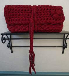 Crochet clutch in red. Crochet Clutch, Red, Totes