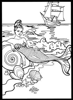 Mermaids Stained Glass Coloring Book, Dover Publications