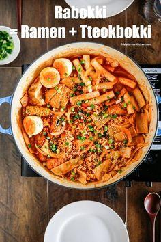 How to make Rabokki - Instant Ramen Noodles + Tteokbokki (Korean spicy rice cakes). It& a popular Korean snack meal. Spicy but delicious!
