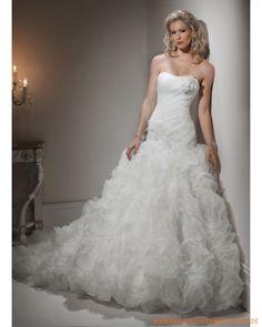 2013 luxuriöses Brautkleid aus Organza und Satin schulterfreier Ausschnitt und gerafftes Korsett und balkleidförmiger Rock mit Kapelleschleppe