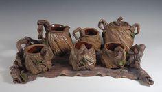 Tea Service Set stoneware  includes Grapevine Teapot,  creamer, sugar bowl,  6 cups & tray  ( 2 cups not showm )  $2000USD