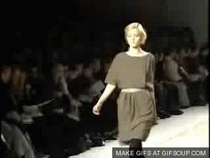 Model Fail GIFs: Jessica Stam eats it on the runway, feels the embarrassment