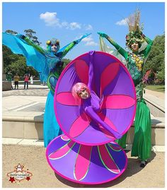 Pink and purple spiral diva alongside our blue butterfly and woodland stilt character at the 2017 Houston Kite Festival at Hermann Park! J&D Entertainment www.jdentertain.com