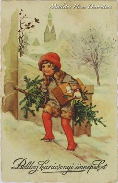 Here I am again with a lovely vintage Christmas postcard. The card was posted in You can find my other vintage post. Last Christmas, Vintage Christmas, Christmas Cards, Christmas Postcards, Acrylic Canvas, Flowering Trees, Xmas Gifts, Vintage Postcards, Flower Art