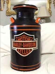 harley davidson hand painted milk can