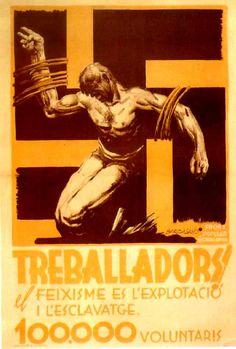 Treballadors! (Workers!) by José Bardasano, 1938. Contributor: Catalunya. Front Popular Imprenta:Gráficas Ultra, S.A.