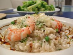 Prawn Risotto with Peas and Paprika and Garlic Oil