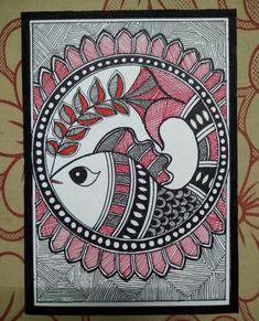 Madhubani indian folk art on paper. Buddha Kunst, Buddha Art, Doodle Art Drawing, Mandala Drawing, Zentangle Drawings, Watercolor Paintings Abstract, Mural Painting, Painting Tips, Madhubani Art