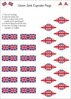 Union Jack Cupcake Flags #uk