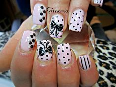 Multi design pink & black nails