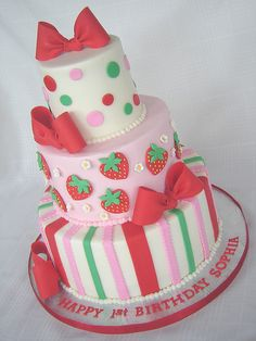 Strawberry Shortcake Cake by springlakecake...maybe mom would like to do strawberry shortcake themed party for Maggie and put shortcake doll on top