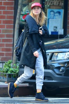 Tomboy tailoring! 23-year-old Suki Waterhouse was rocking a casual vibe in her off-duty clothing as she ran errands and listened to music in New York on Monday
