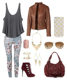 """floral, gold, and burgundy"" by genevamq on Polyvore"