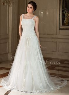 A-Line/Princess Sweetheart Chapel Train Satin Tulle Wedding Dress With Lace Beading Sequins Bow(s) (002000425) - DressFirst