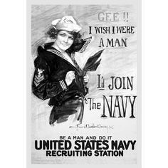 U.S. Navy (I'd Join the Navy, B&W) Art Poster Print