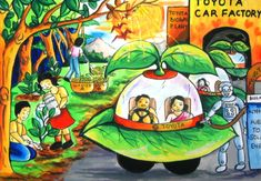 'Eco-friendly Solar Car' by Reema Ghosh, Aged India: Contest, Silver Drawing For Kids, Art For Kids, Phad Painting, Peace Poster, Environment Painting, Drawing Competition, Solar Car, Animal Art Projects, Composition Art