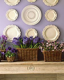 Spring Bulbs Basket    Here we celebrate purple and honor the early springtime landscape by bringing it inside -- and turning the mantel into a garden path.