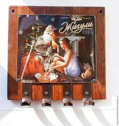 Ассамбляж пивной банки, деревянной доски и медных крючков - Ярмарка Мастеров - ручная работа, handmade
