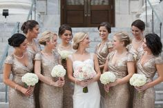 Bridal Party Wedding Portrait | Gold Sequin Badgley Mischka Bridesmaid Dresses and Ivory Cap Sleeve Sweetheart Provonias Wedding Dress with Blush and Ivory Rose and Hydrangea Wedding Bouquet | Tampa Wedding Photographer Carrie Wildes Photography