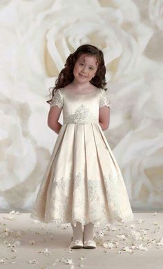 Joan Calabrese Style Sleeveless Satin and Tulle Dress with Lace - Lace  Dresses - Flower Girl Dress f6d410c64401