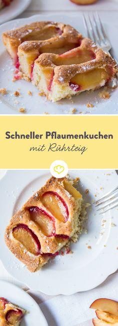 Der Ruckzuck-Pflaumenkuchen steht dir bei Zeitnot zur Seite: Fix alle Zutaten zusammengerührt, Pflaumen drauf und schon geht's ab in den Ofen.
